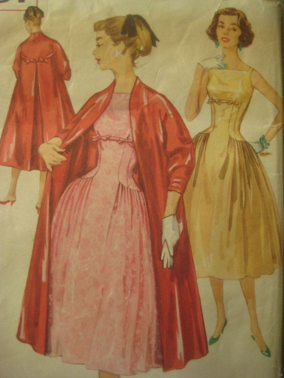 Vintage Simplicity 1867 Sewing Pattern, 1950s Dress Pattern, 1950s Coat Pattern, Bust 34 Inches, Vintage Size 14. $20.50, via Etsy.