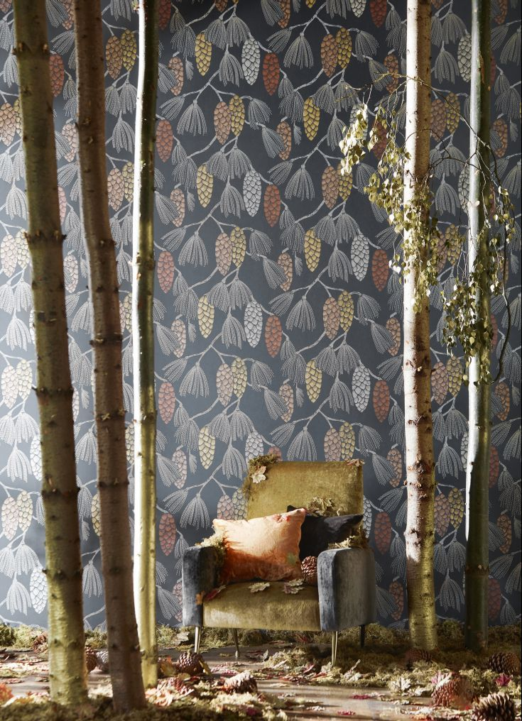 An all over wallpaper design, featuring a trailing pattern of stylised exotic pine cones.