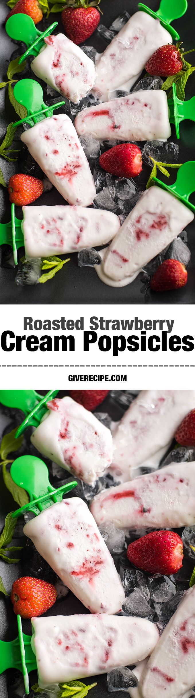 So creamy popsicles with roasted strawberries and Greek yogurt. Beat the heat with these yummy pops! One is NEVER enough! | giverecipe.com