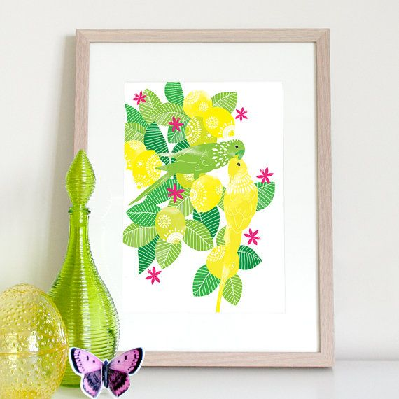 Lemons and Lorikeets colourful tropical kitchen print