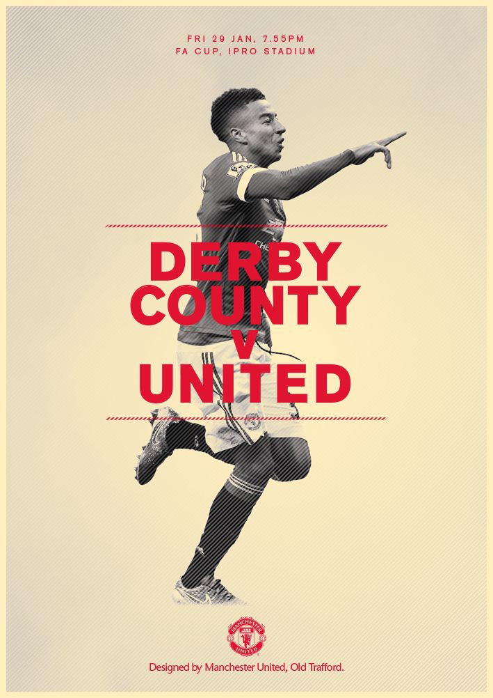 Match poster. Derby County v Manchester United, 29 January 2016. Designed by @manutd