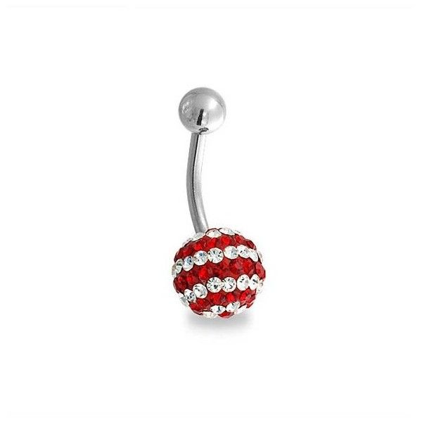 Bling Jewelry Steel Shamballa Inspired Navel Ring Red White Striped... ($17) ❤ liked on Polyvore featuring jewelry, belly, piercings, red, rings, beach jewelry, steel jewelry, party jewelry, belly button rings jewelry and ball jewelry