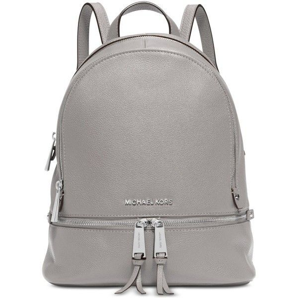 Michael Michael Kors Rhea Zip Small Backpack ($224) ❤ liked on Polyvore featuring bags, backpacks, pearl grey, zipper tote, zip tote bag, handbags totes, michael kors backpack and michael kors tote