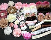 Baby Shower Headband Kit, Deluxe DIY Hair Bow Kit, Baby Shower Headband Station Kit, Vintage Headband Shower Kit, Make 30 Headbands 5 Clips