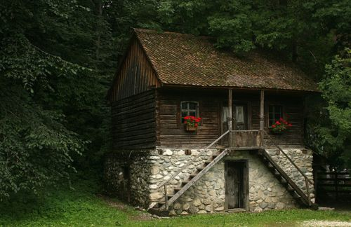 Tucked away: Romanian Cottages, Tiny Houses, Logs Cabins Home, Cabins Fever, Places, Stones, Photo, Tiny Cabins, Window Boxes