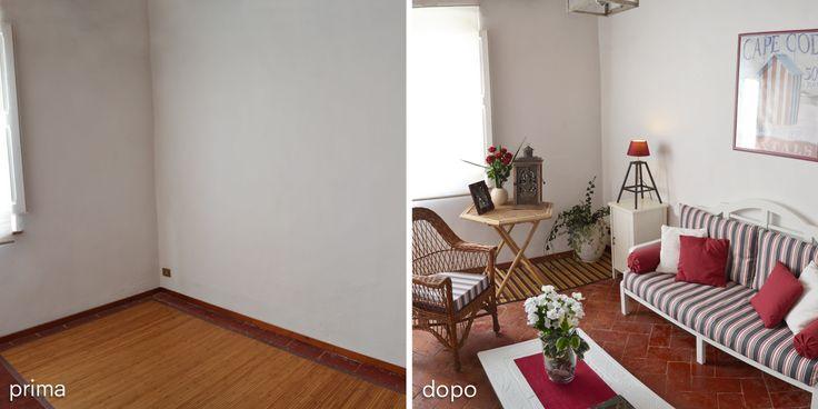 Una stanza vuota, di una casa in vendita, è stata arredata e decorata con uno stile country-chic! - In this home for sale an empty room has been country-chic designed and decorated!