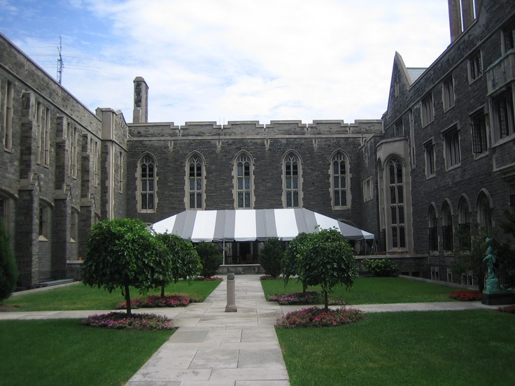 Hart House Courtyard at University of Toronto - As an integral part of the UofT's cultural landscape since 1919, Hart House is a peerless institution in its history of inspiring change, provoking thought and helping to shape artistic, cultural and social tapestry of the university and larger communities.    Commissioned by the Massey family and gifted to the University of Toronto by the Massey Foundation as a gathering place for students to partake in co-curricular activities.