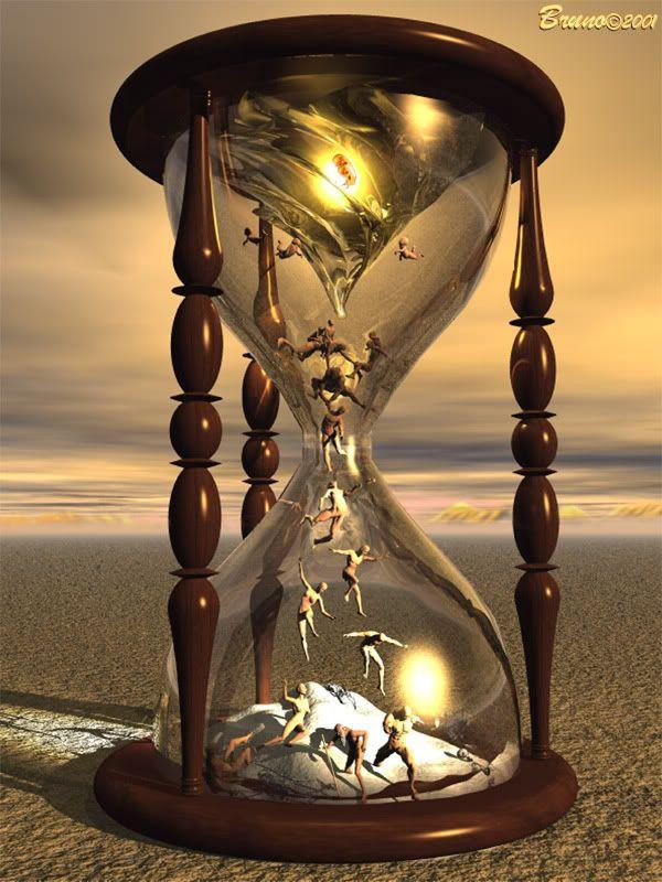 Het staat voor de TIJD en de dood. Het zand dat uitloopt en de tijd weergeeft, geeft de tijd weer in haar fatale en onomkeerbare aspect: dat wat wegglipt en niet tegen kan worden gehouden, en wiens eindigheid met geen macht te veranderen is. Aanvullend roept de onvruchtbaarheid van het droge zand de gedachte op van de nietigheid van (alle) dingen als slechts toevalligheden, en de (uiteindelijke) stilstand van beweging herinnert aan de (uiteindelijke) stilstand van het hart en het leven.