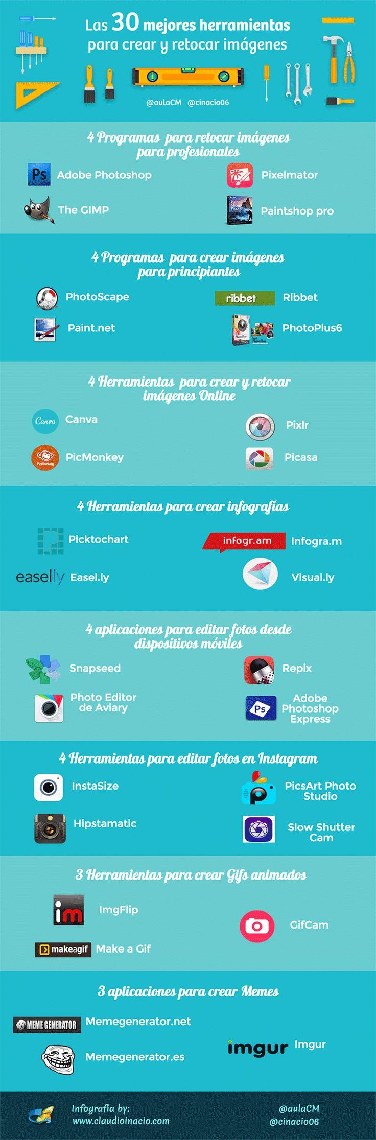 """Hola: Compartimos una interesante infografía sobre """"30 Herramientas en Línea para Editar Imágenes"""" Un gran saludo.  Visto en: aulacm.com  También le puede interesar: 5 Herramientas en l..."""