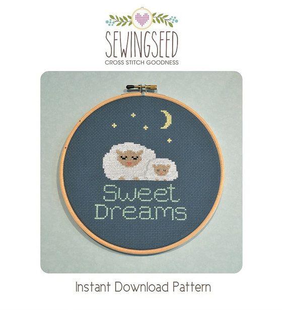 Sweet Dreams, Sleeping Sheep Cross Stitch Pattern Instant Download