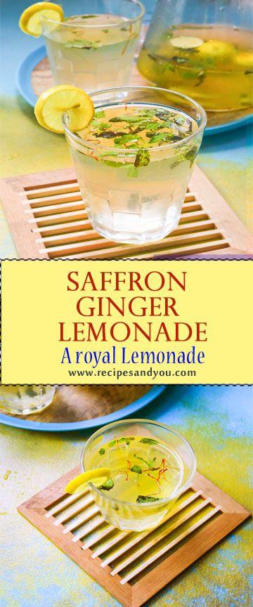Royal Saffron ginger mint Lemonade-How to make saffron ginger mint lemonade | Recipesandyou