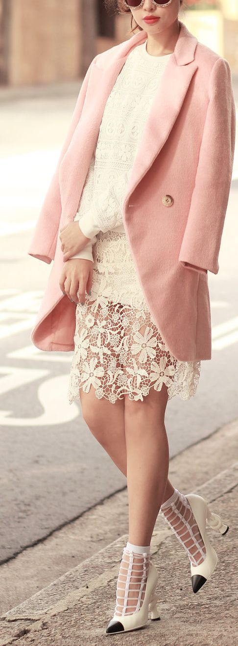 winter pastels and cage heels #streetstyle
