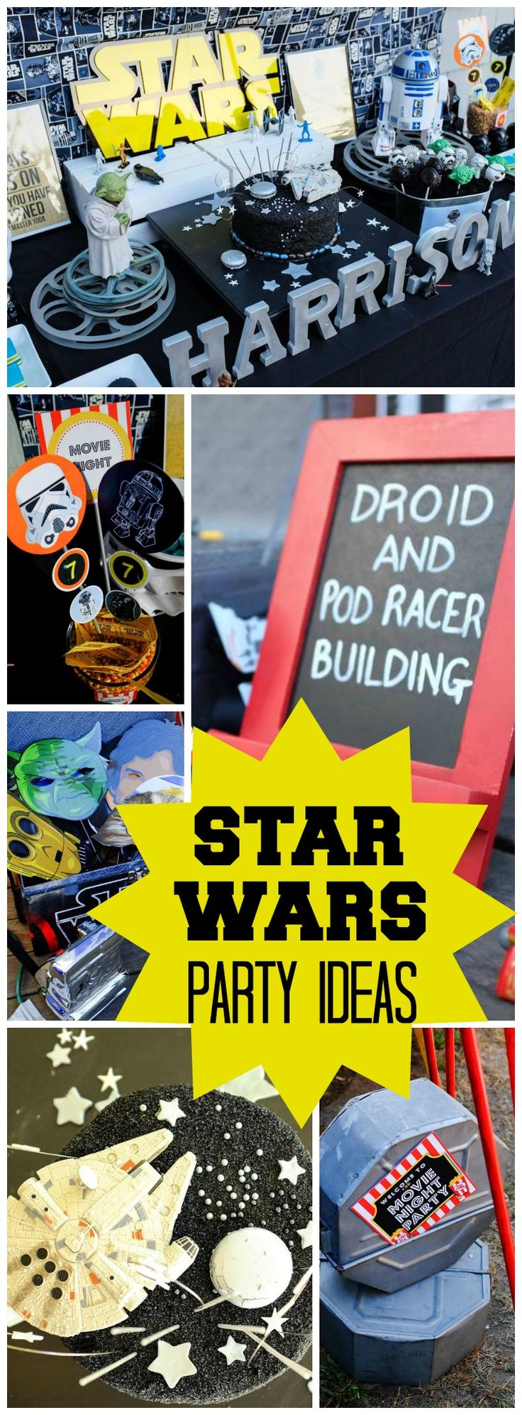 How fun is this Star Wars  outdoor movie party with a sleepover?! See more party ideas at CatchMyParty.com!