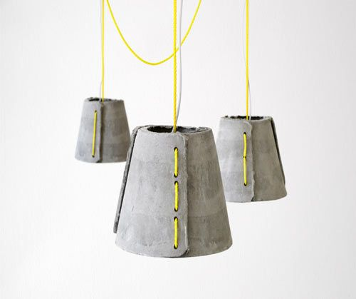 Concrete and Neon Lamps - beton lamp verlichting - industrieel interieur