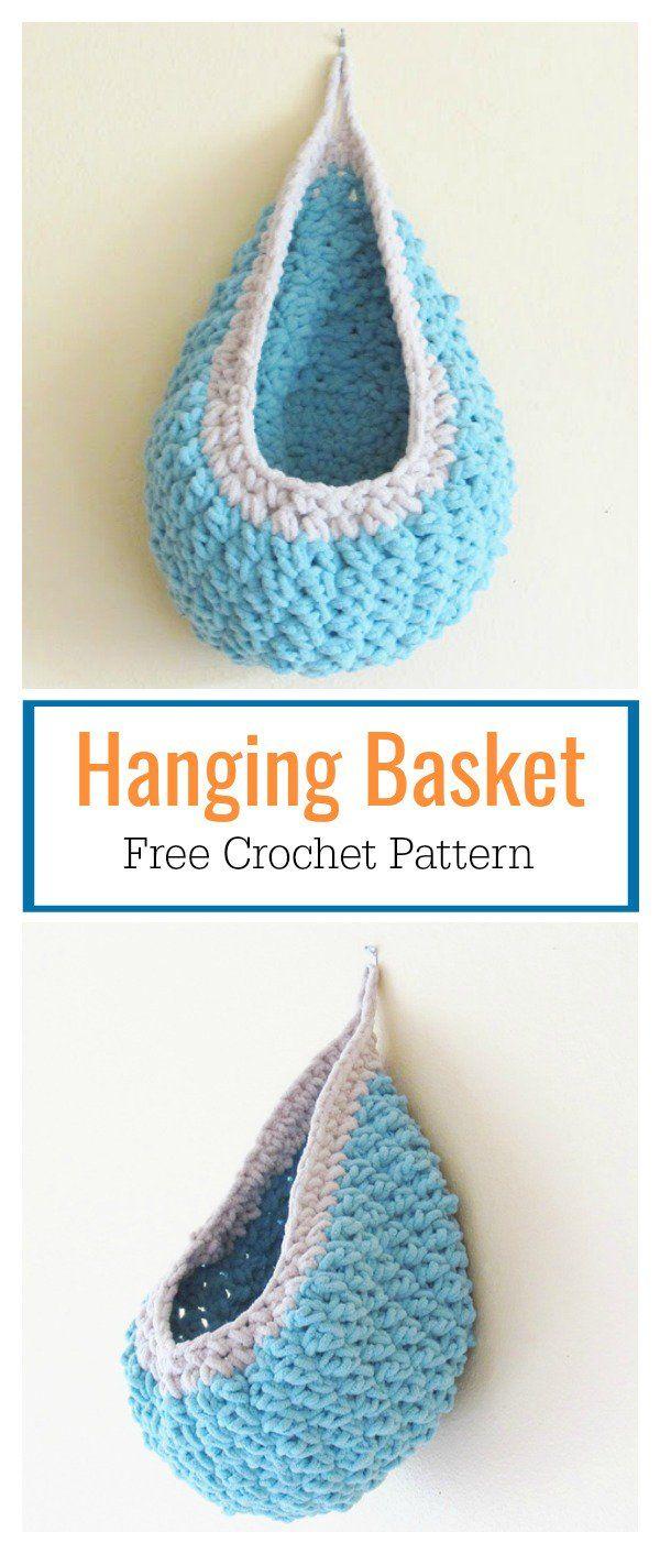 Hanging Basket Free Crochet Pattern Crea Pinterest Breien