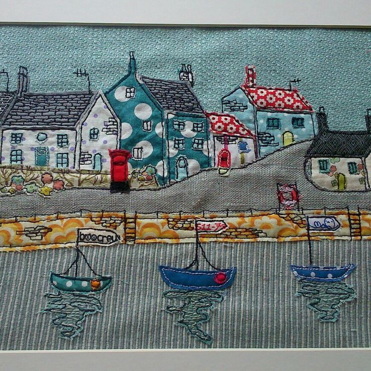A free motion embroidered harbour scene I created. For more if my work Https://www.facebook.com/SewnByCollette.