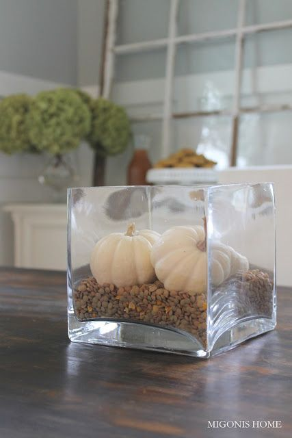 Lentils white pumpkins would look good with green peas for Simple pumpkin centerpieces