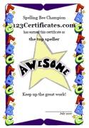 Printable spelling bee certificates, spelling awards, spelling bee award certificates for children, spelling certificates to print for kids