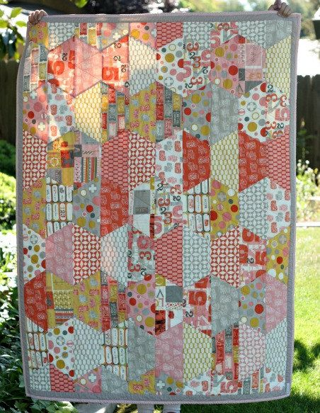 Half Hexagon Crib Size Baby Quilt - Handmade - Cosmo Cricket 23