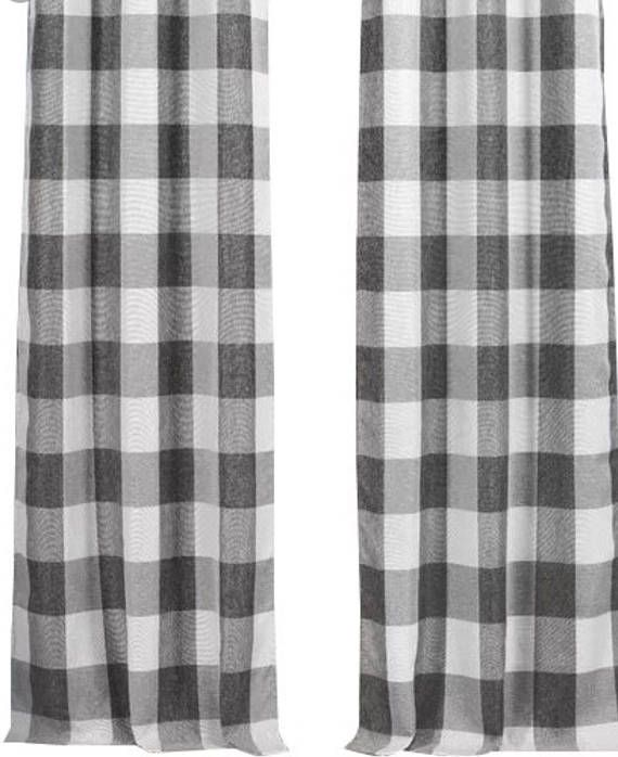 Farmhouse Country Gray And White Check Curtain Panels Choose Size