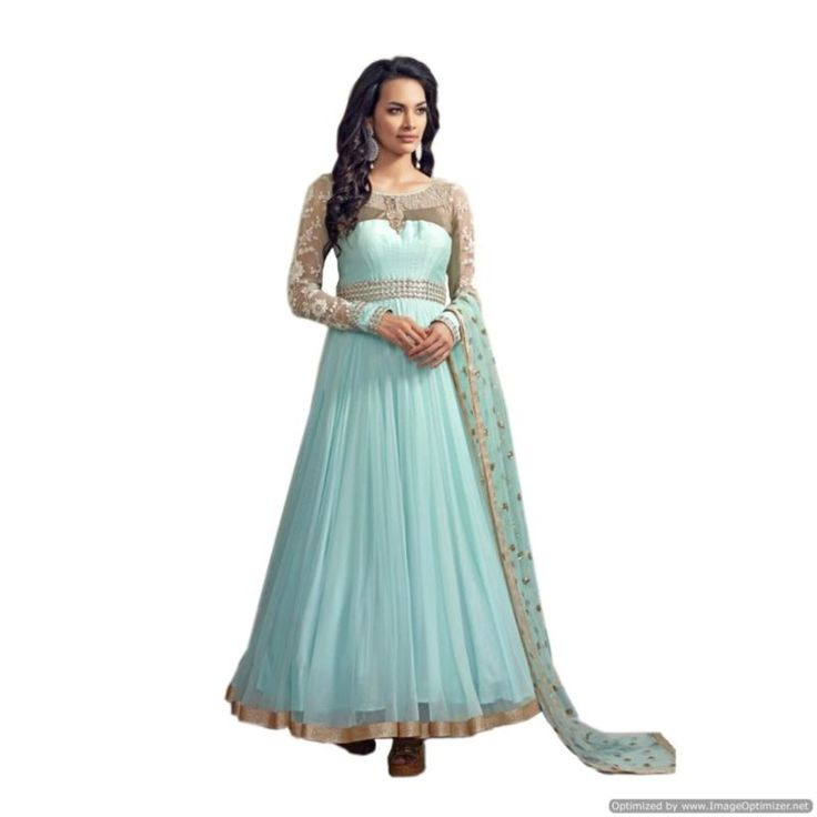 Buy Light Blue and Gold Net Embroidered Anarkali Suit