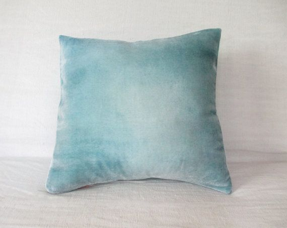 Pale gray and frosty ice blue velvet cushion cover by Fiona Pitkin of Colorbloom. http://www.fionapitkin.co.uk