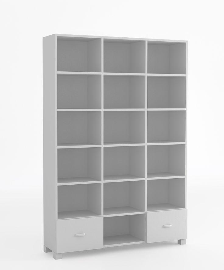 Regał 135 o wymiarach: 1960x1341x339. dwie szuflady i półki zabezpieczone przed wypadnięciem, szuflady na prowadnicach BLUM z systemem BLUMMOTION, krawędzie szuflad zaokrąglone, regał może występować jako ZAMKNIĘTY. Posiada wtedy dwoje drzwi, możliwość przyczepienia regału do ściany.