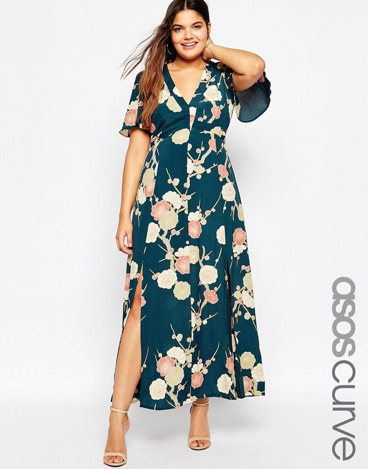 ASOS CURVE WEDDING Maxi Dress In Blossom Floral Print