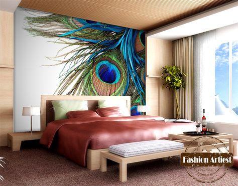 Custom Modern 3d Peacock Feather Wallpaper Fashion Mural Tv Sofa Bedroom Living Room Cafe Bar Restaurant Set Peacock Living Room Feather Wallpaper Bedroom Sofa