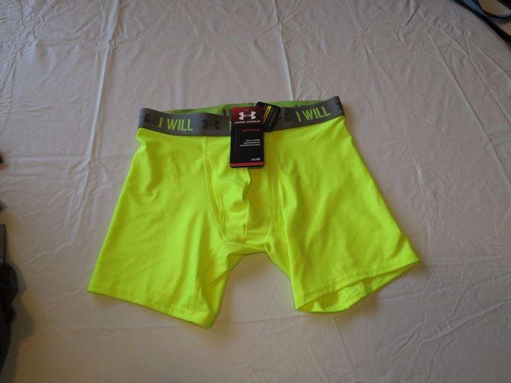 Under Armour UA I WILL neon boxer brief trunks underwear active sports S SM Mens #UnderArmour #BoxerBrieftrunks