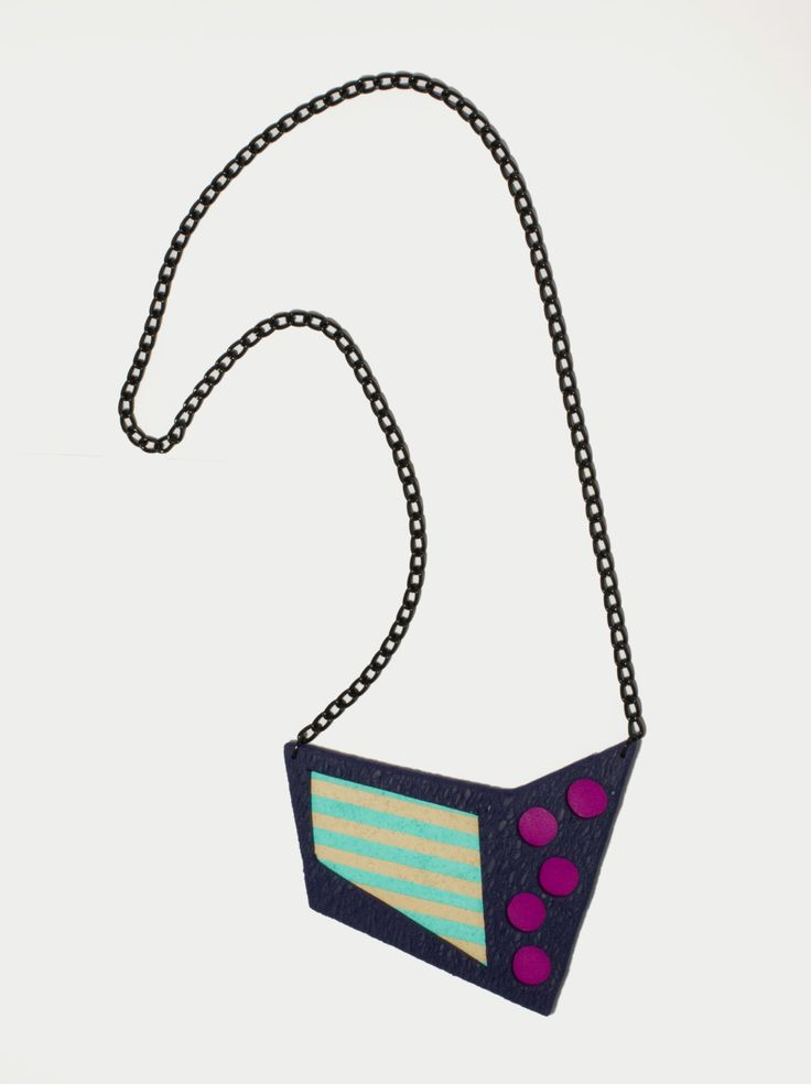 Handmade polymer clay fashion statement bib geometric minimal necklace by DesignsbyLimeLight on Etsy