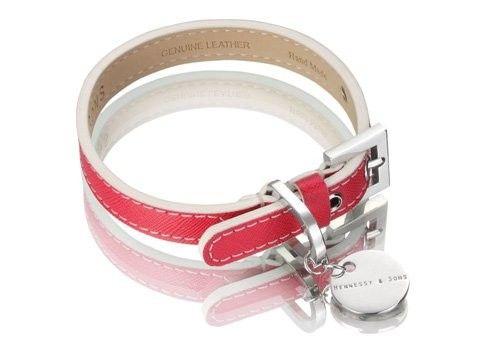 Saffiano Leather Fuschia Pink Dog Collar