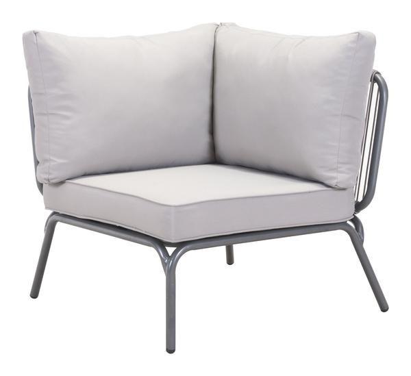 Pier Outdoor Single Corner Sectional Sofa Unit in Gray Aluminum