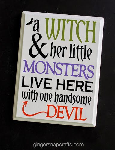 Ginger Snap Crafts: DIY Halloween Sign with Happy Crafters