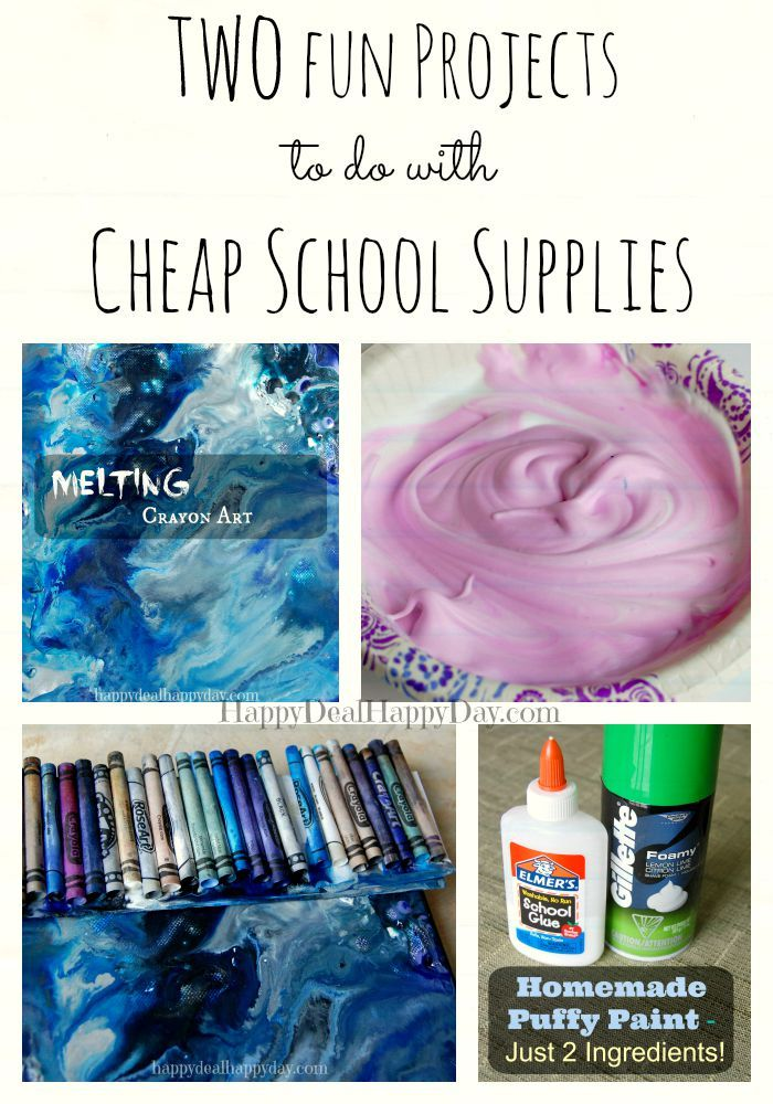 Two fun projects to do with cheap school supplies - melting crayon art and homemade puffy paint!  These are easy, fun, and frugal!  happydealhappyday.com