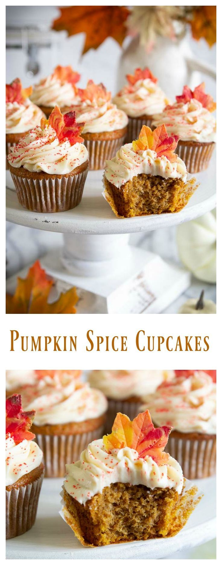 Fluffy and moist pumpkin spice cupcakes topped with delicious cream cheese frost…