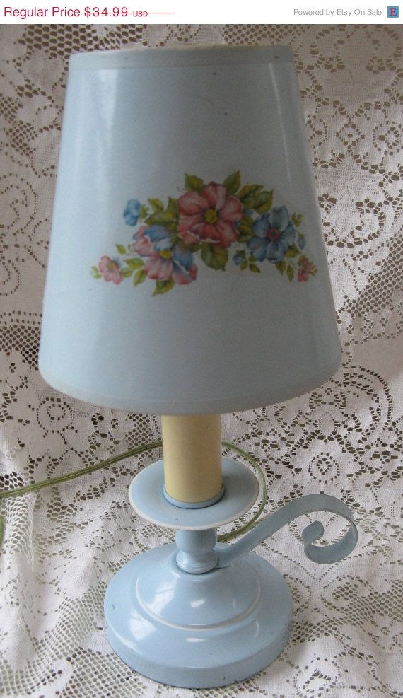 on sale cottage lamp blue bedside lamp candle by rivertownvintage