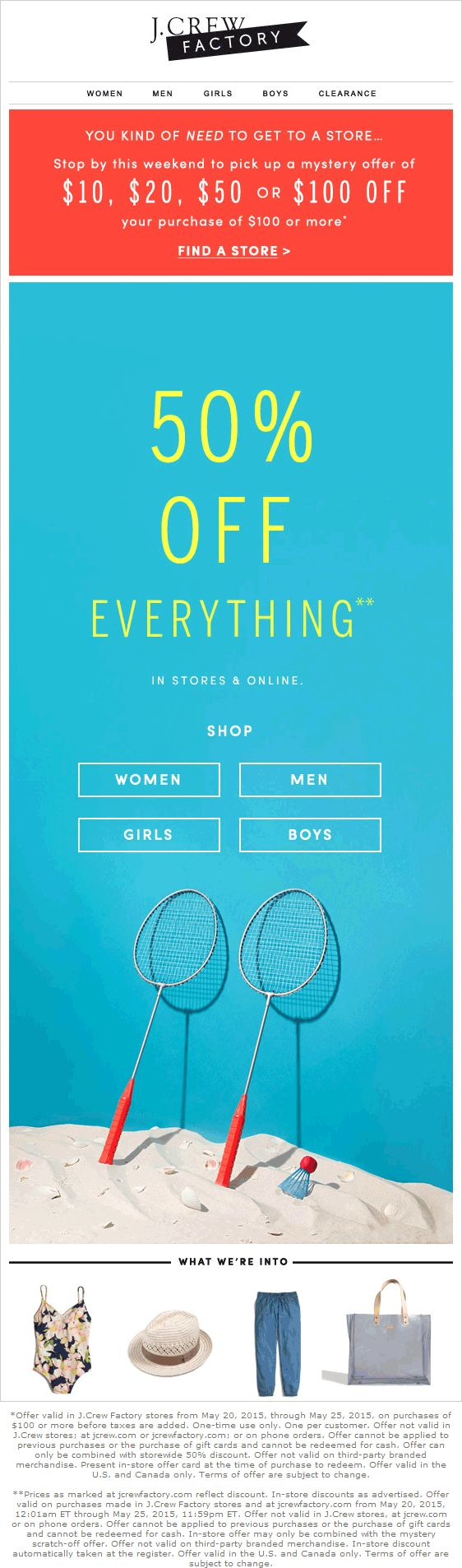 Pinned May 23rd: 50% off everything & more at J.#Crew Factory ditto online #coupon via The #Coupons App