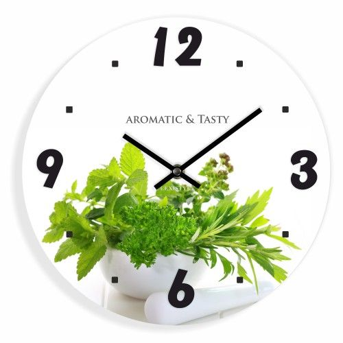 Biele kuchynské hodiny s motívom byliniek