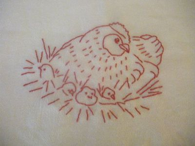 MaryJanesFarm Farmgirl Connection - Redwork Hen and Chicks Flour Sack Towel
