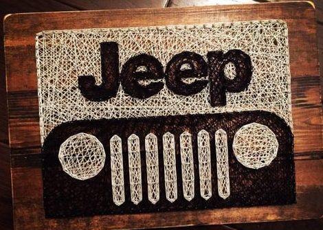 string art jeep wrangler car headlights tires
