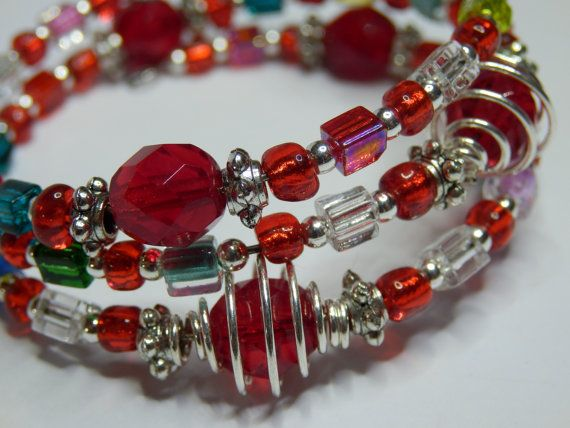 Red Caged Bead Memory Bracelet  Red Czech Crystal by BobbyandMeSew