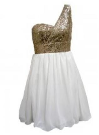 White One Shoulder Dress with Gold Sequin Top,  Dress, one shoulder dress  sequin dress, Chic