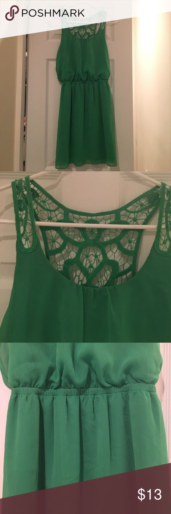 """Kelly green dress Kelly green dress with beautiful lace detailing. Only worn once. On 5'1"""" model. 100% polyester Express Dresses Mini"""