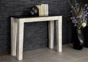 Konsolentisch - Massive Möbel aus der Serie CASTLE ANTIK. Mit weißem Wachs behandeltes Mangoholz verbindet sich mit dunkel lackierter Akazie. • Alle Produkte und Infos zur Möbel-Serie in unserem Onlineshop: www.massivmoebel24.de