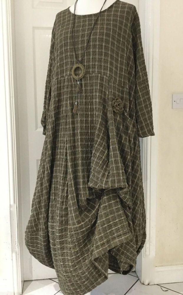 GORGEOUS  GERMAN ZEDD.PLUS quirky/lagenlook BRONZE parachute dress size  L/XL #ZEDDPLUS #dress