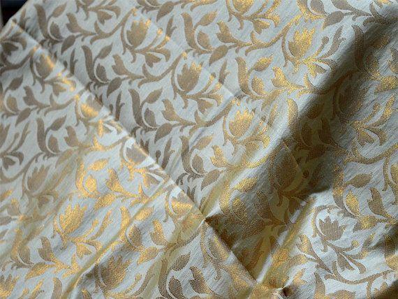 Banarsi Brocade Fabric - Cream Gold floral Weaving Brocade Fabric by the Yard - Indian Art Silk Fabric, Wedding dress material