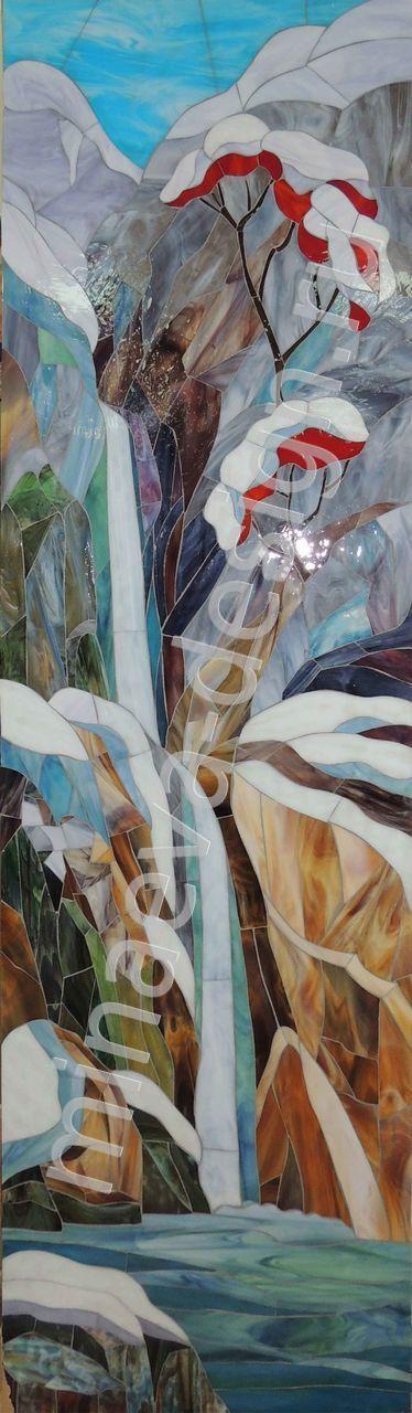 """Витраж-мозаика """"Зима в Кавказских горах"""", студия """"MINAEVA-design"""", Россия, Краснодар."""