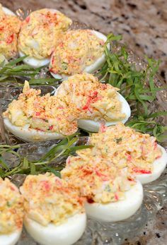 Add a seafood twist to a classic side dish with Crab Deviled Eggs. Learn how to make this recipe and share it with your friends!