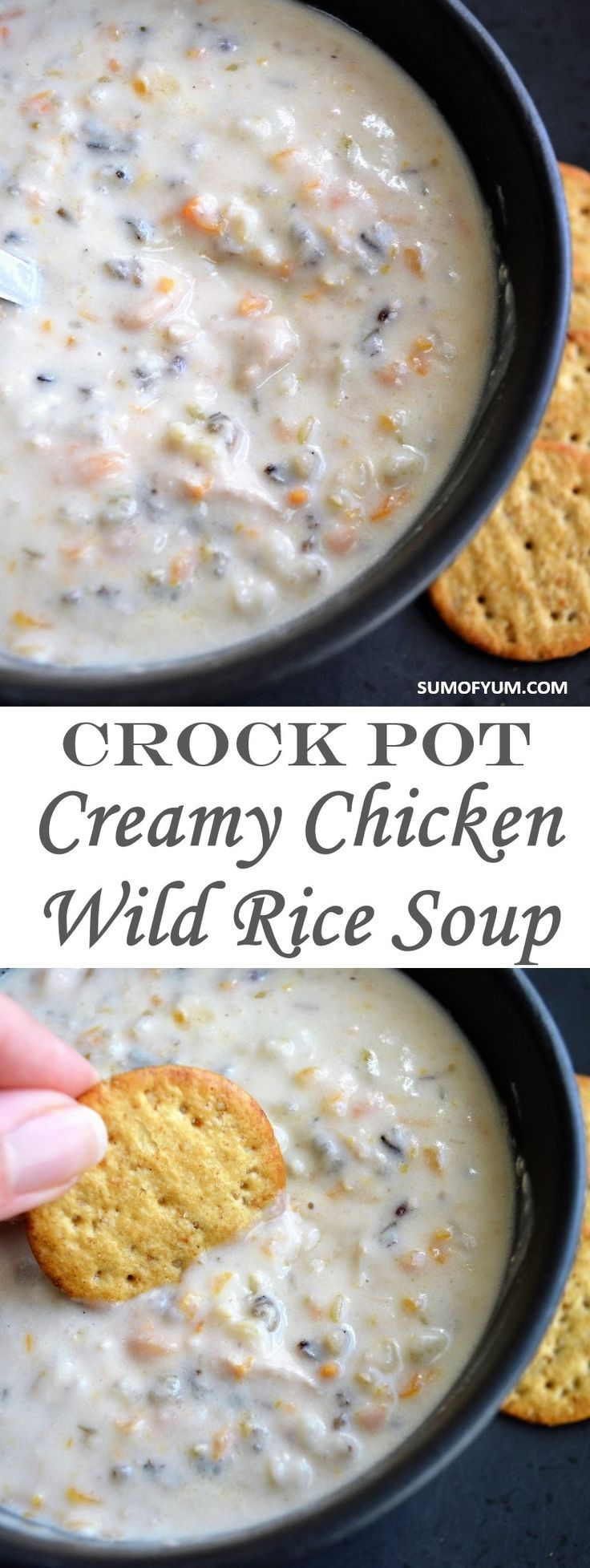 Creamy Chicken Wild Rice Soup that is made in a Crock Pot or slow cooker is just what you need on a cold winter day.